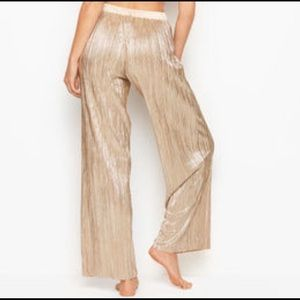 Victorias Secret shiny gold pleat pajama pants